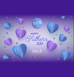Blue and violet heart shapes in paper art and sign vector