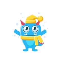 Blue Monster With Horns And Spiky Tail Wearing Hat vector