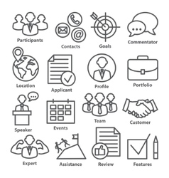 business management icons in line style pack 25 vector image