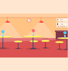 Cafe interior tables and chair vector