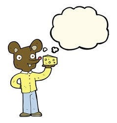 cartoon mouse holding cheese with thought bubble vector image
