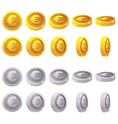 cartoon set of 3d metallic coins animation vector image
