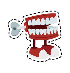Chattering teeth wind up toy icon image vector