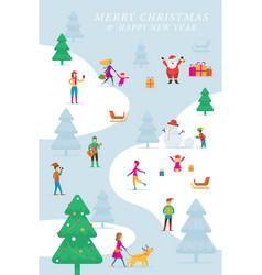 christmas people in action activity outdoor vector image