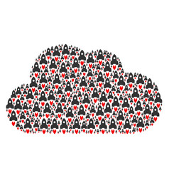 Cloud figure of space rocket icons vector