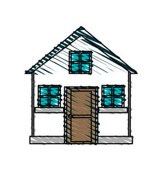 Color crayon stripe cartoon facade comfortable vector