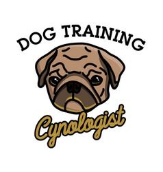 color vintage cynologist emblem vector image