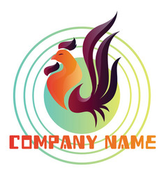 colorful rooster logo on a white background vector image