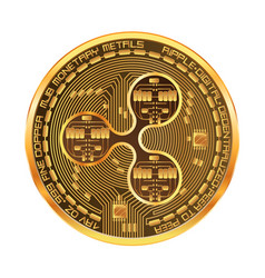 Crypto currency ripple golden symbol vector