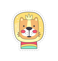 Cute funny lion colorful cloth patch applique for vector