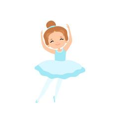 cute little ballerina dancing girl ballet dancer vector image