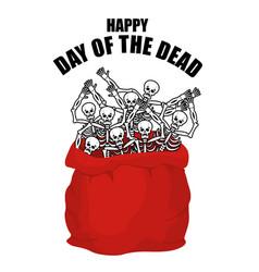 day of the dead skeletons in sack skull in bag vector image