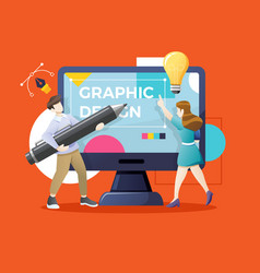 Designers or working together on giant computer vector