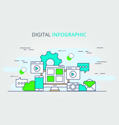 digital data infographic design vector image