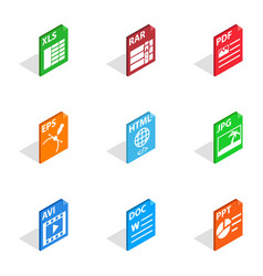 Document file format icons isometric 3d style vector
