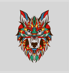 ethnic patterned head wolf front view brown vector image