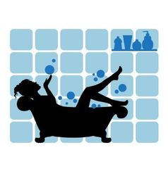 female silhouette in the bathroom vector image