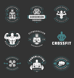 fitness center and gym logos and badges design vector image