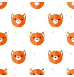 flat cartoon fox heads seamless pattern vector image