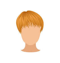 flat icon of female head with short red vector image