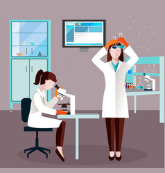 Flat scientists people composition vector
