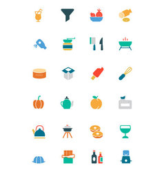 Food and Drinks Colored Icons 12 vector image