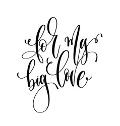 for my big love - hand lettering inscription text vector image
