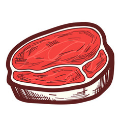 fresh steak icon hand drawn style vector image