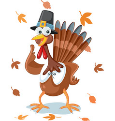 funny happy thanksgiving turkey cartoon vector image