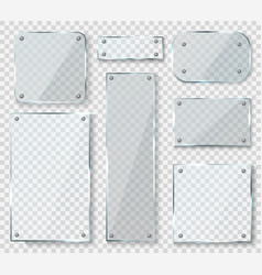 glass panels with screws acrylic empty square vector image