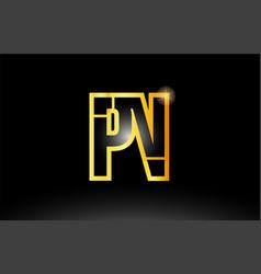 Gold black alphabet letter pn p n logo vector
