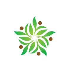 Green leaf decoration ecology logo vector
