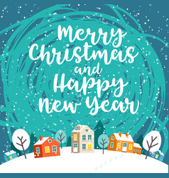 grreeting card with winter christmas town and text vector image