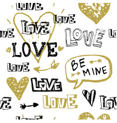 hand drawn valentine day seamless pattern vector image
