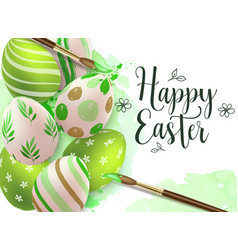 Hand painted green easter eggs vector