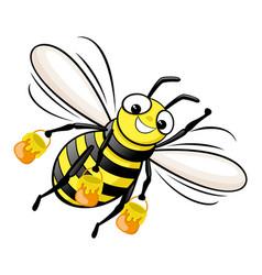 happy bee with honey in flight vector image