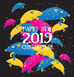 happy new 2019 chinese year of the boar vector image
