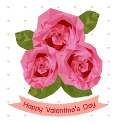happy valentines day with pink rose vector image