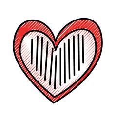 heart love romance passion stripes drawn vector image
