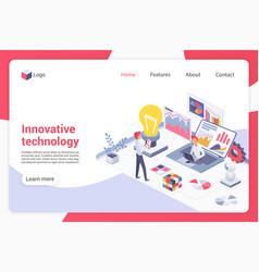 Innovative technology isometric landing page vector
