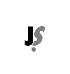 Js j s black white grey alphabet letter logo icon vector