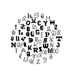 lettering handmade font decorative alphabet black vector image