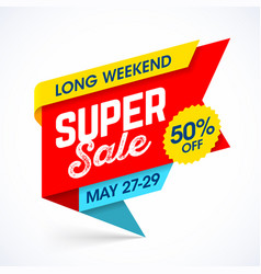 Long weekend super sale banner special offer up vector