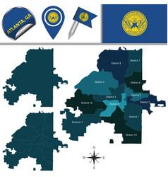 Map of atlanta ga with districts vector