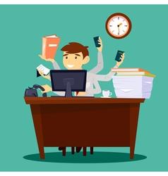 Multitasking businessman man at work in office vector
