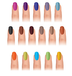 nail polish in different fashion colors nail care vector image