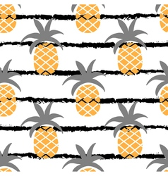 Pineapple seamless pattern with stripe line in vector