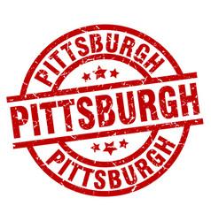 Pittsburgh red round grunge stamp vector