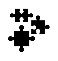 puzzle pieces work marketing silhouette vector image