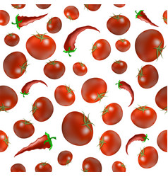 red ripe tomato and pepper seamless pattern vector image